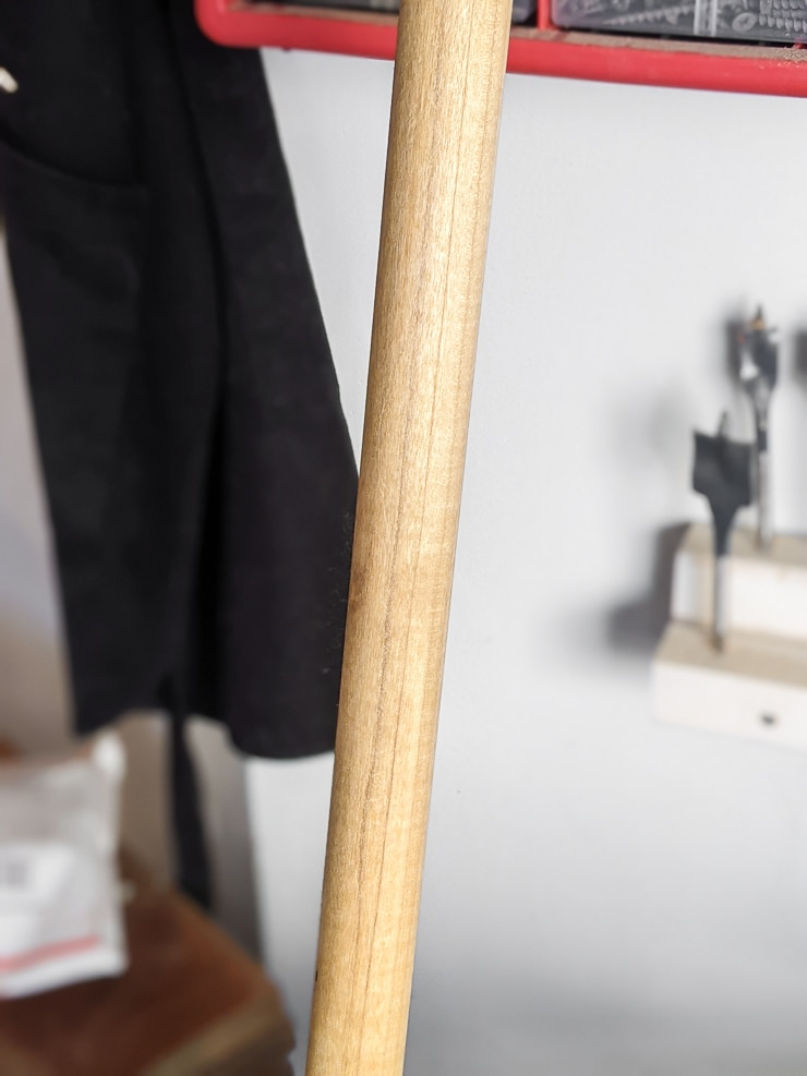 stained wooden dowel