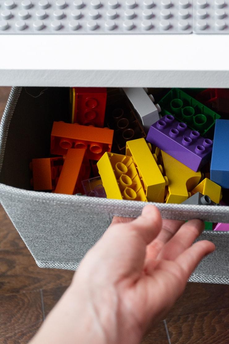 bin with legos in them