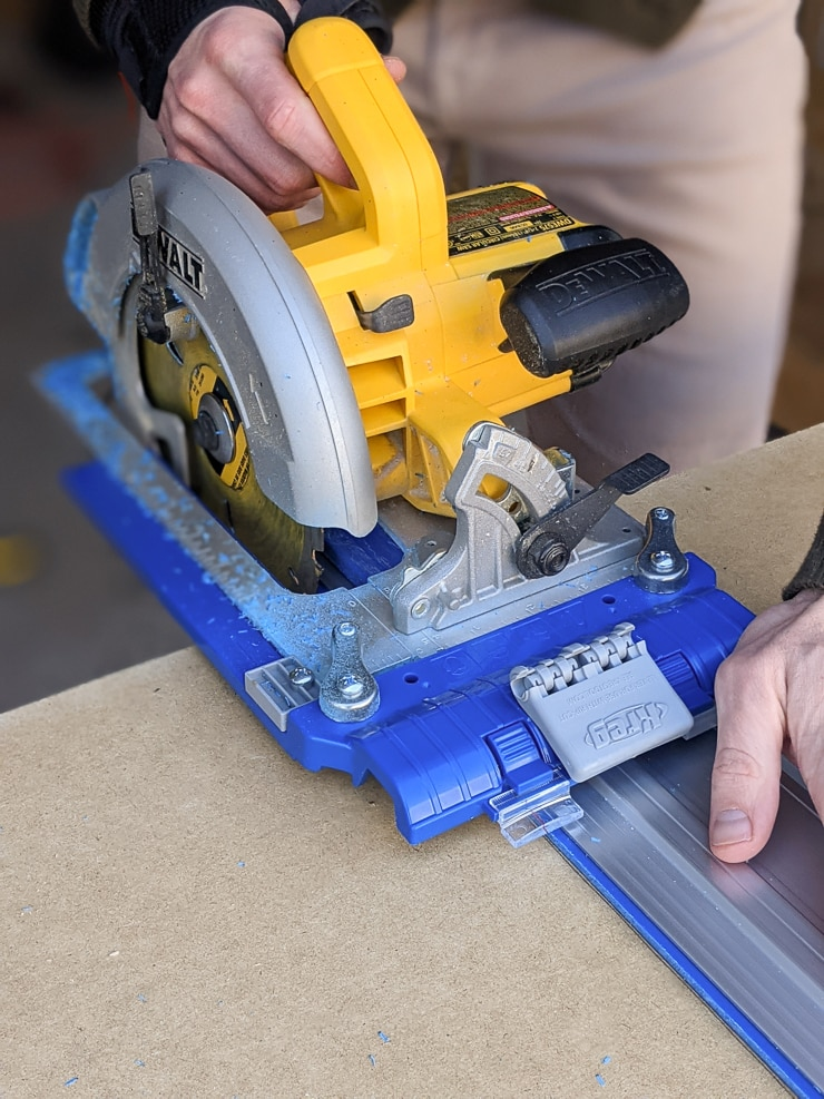using the Kreg accu-cut and a circular saw to cut the tabletop for a DIY lego table