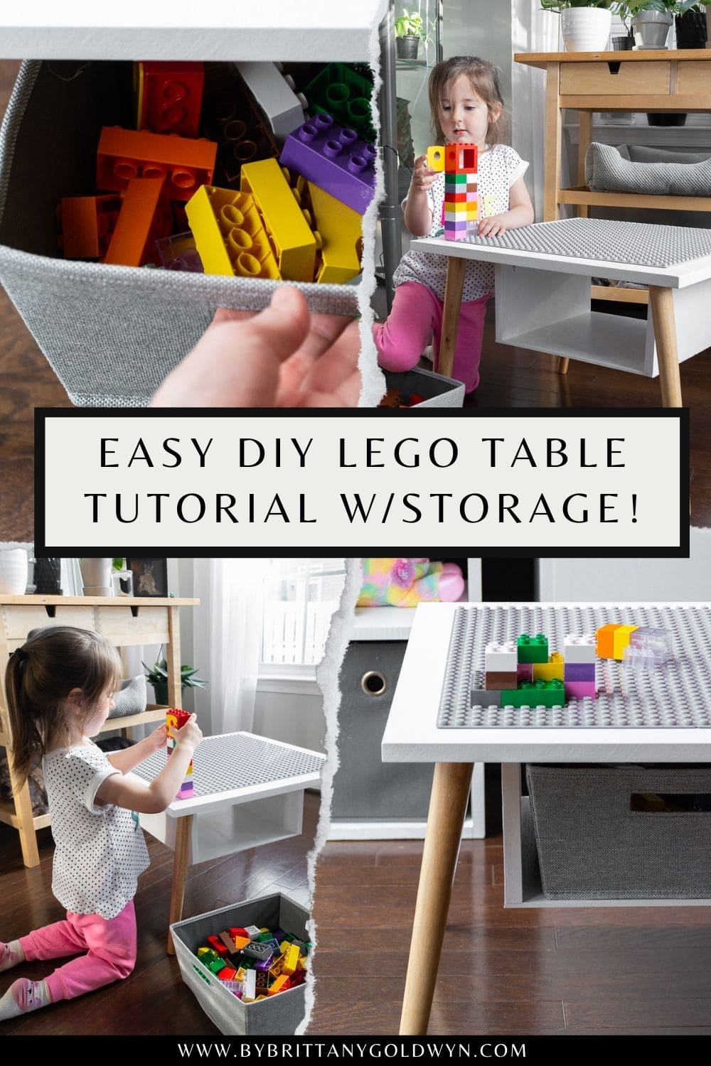 pinnable graphic with photos of a DIY Lego table and text overlay about how to make one
