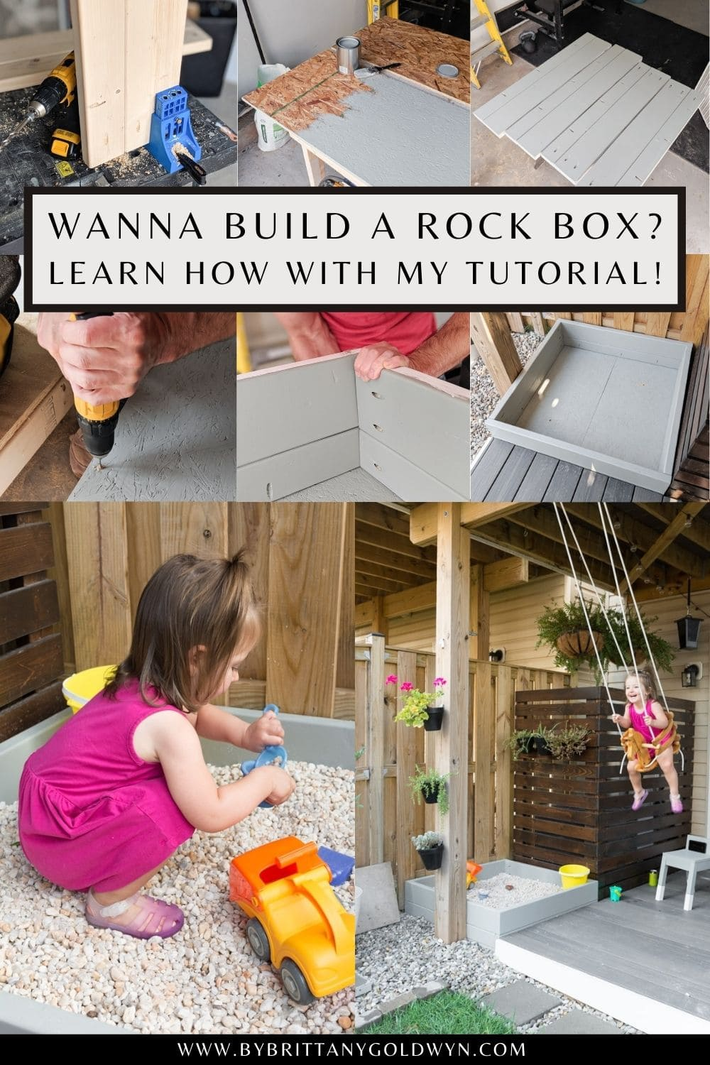 pinnable graphic with images of a rock box and text overlay about how to build a rock play box