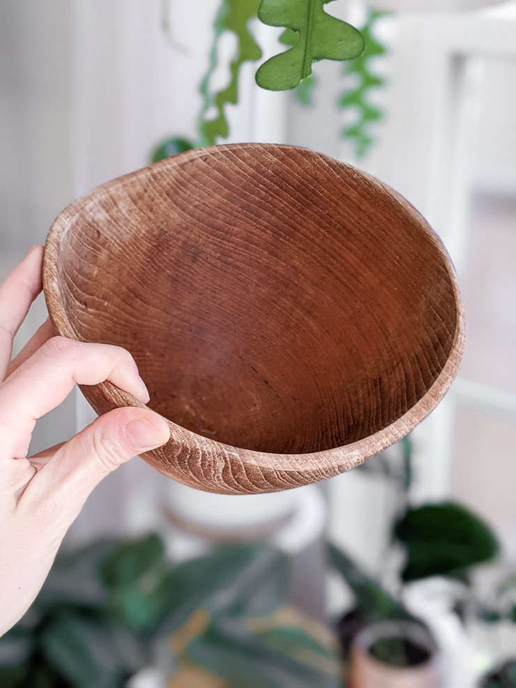 vintage teak bowl that needs restoring