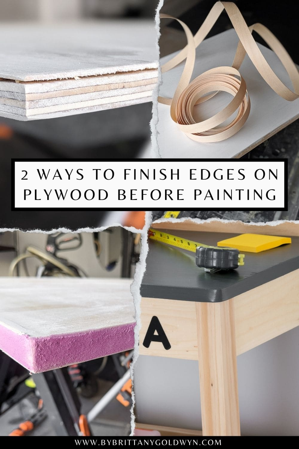 pinnable graphic with images of plywood projects and text about ways to finish edges on plywood before painting