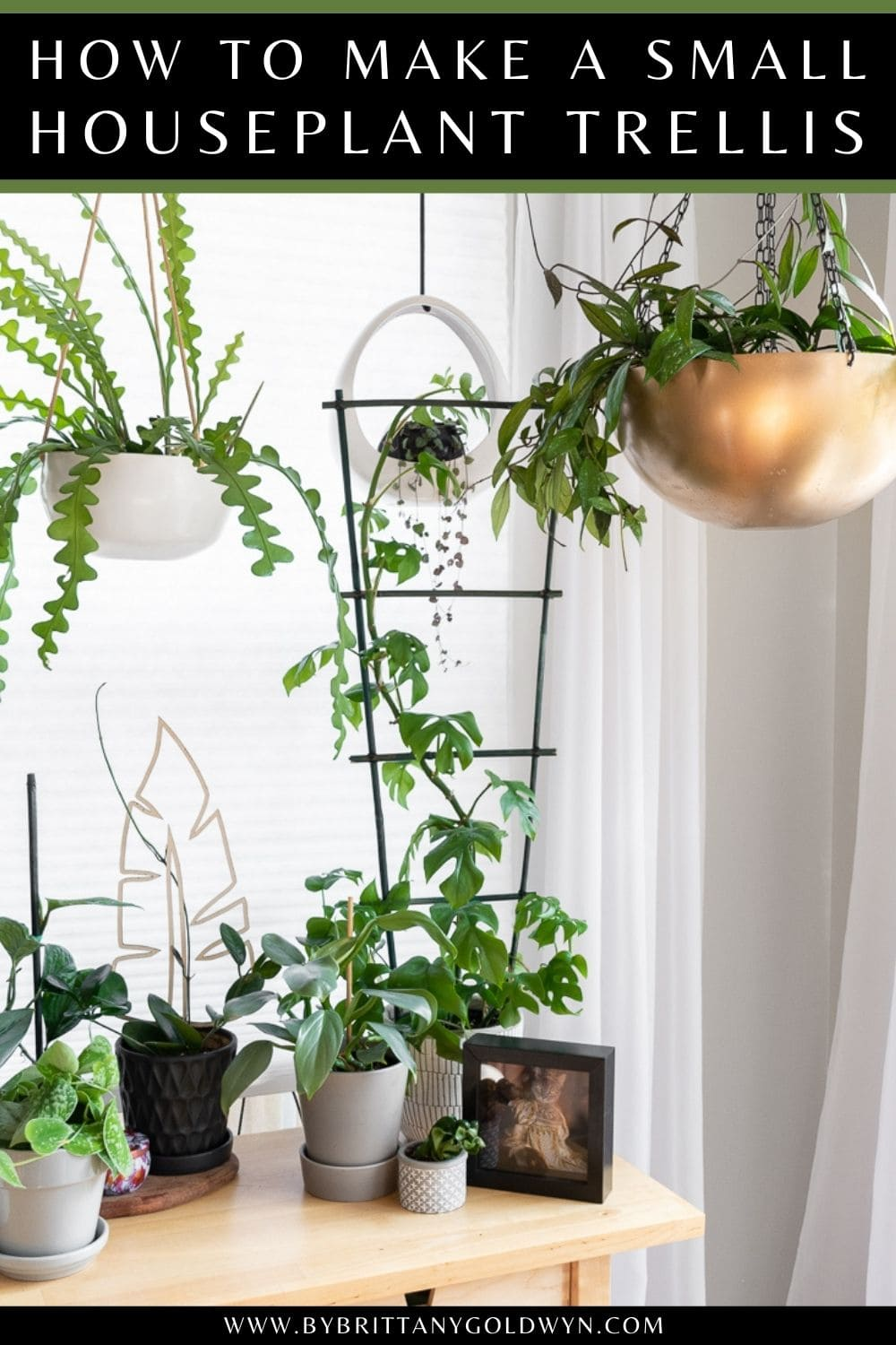 image of a DIY bamboo houseplant trellis with text overlay about how to make one