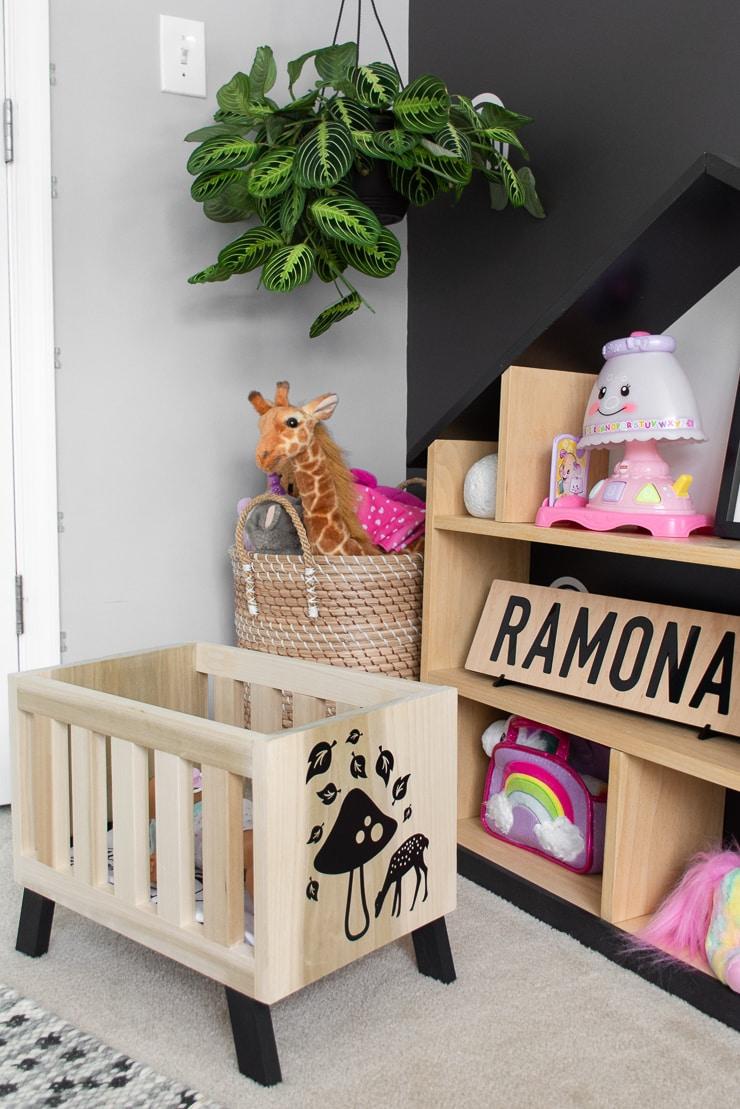 DIY modern babydoll crib build in a cute kids room