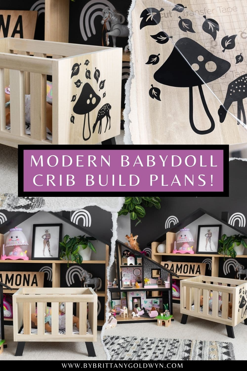 pinnable graphic with images of a modern kids room and text about how to build a modern babydoll crib
