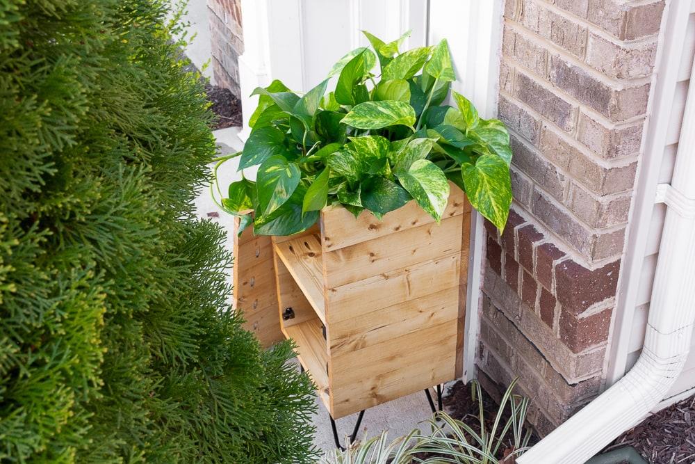 wooden porch planter