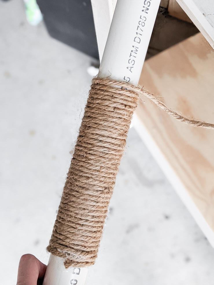 DIY moss pole alternative using jute and PVC pipe