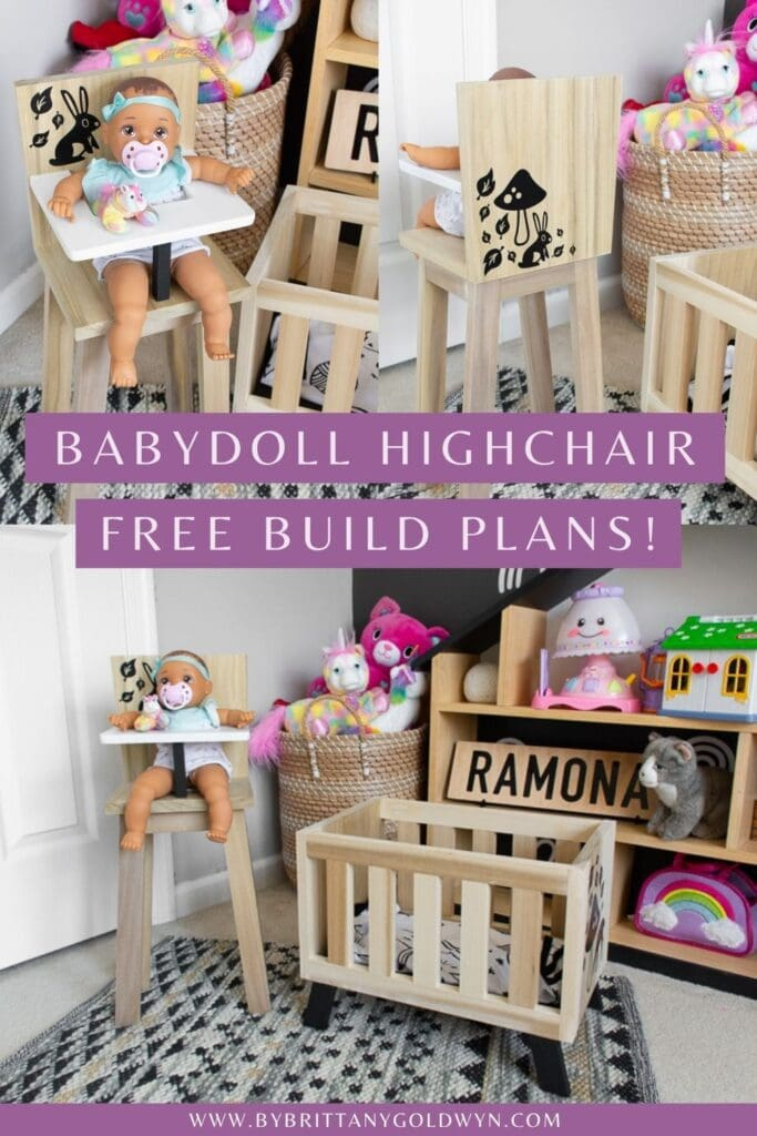 pinnable graphic about babydoll high chair free build plans including images of the high chair and text overlay