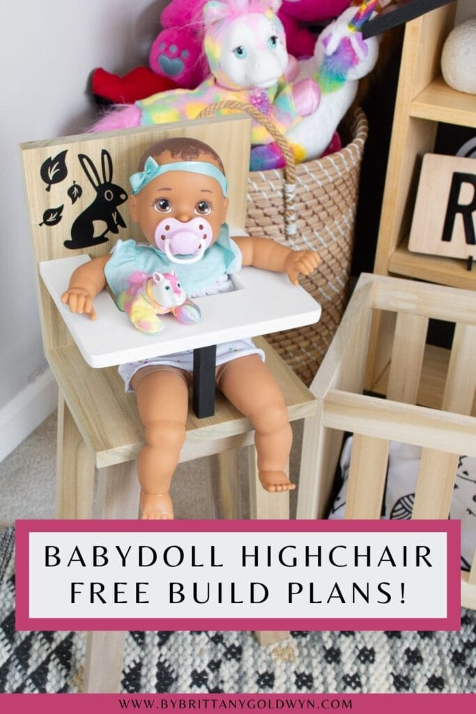 pinnable graphic about babydoll high chair free build plans including an image of the high chair and text overlay