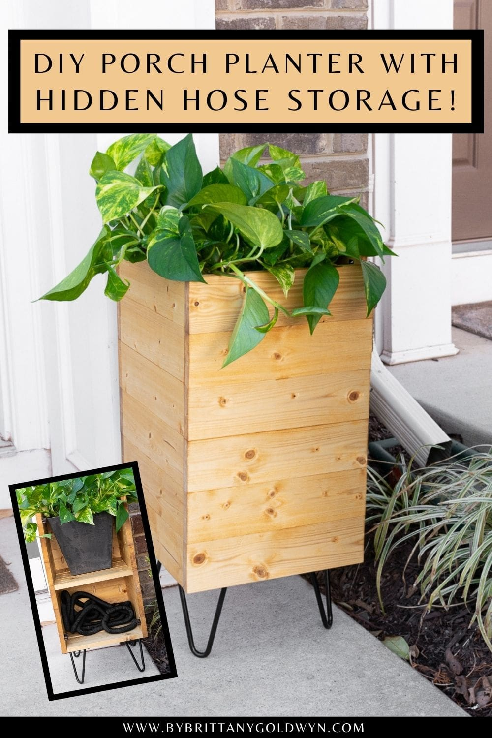 pinnable graphic with photos of a DIY planter with built-in hose storage and text overlay about how to build one
