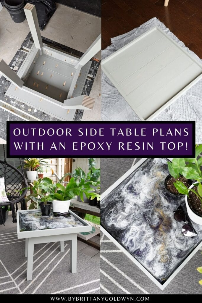 pinnable graphic about outdoor side table plans with an epoxy resin top including images of the table and text overlay