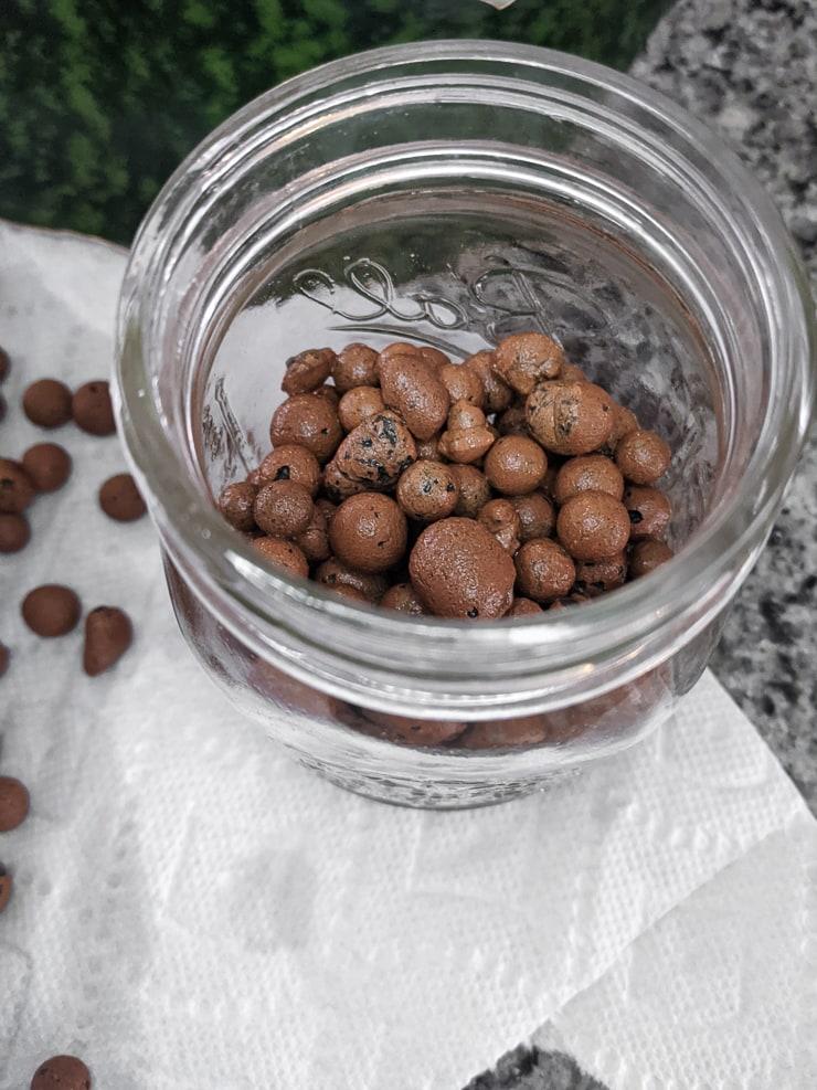 LECA in a glass jar