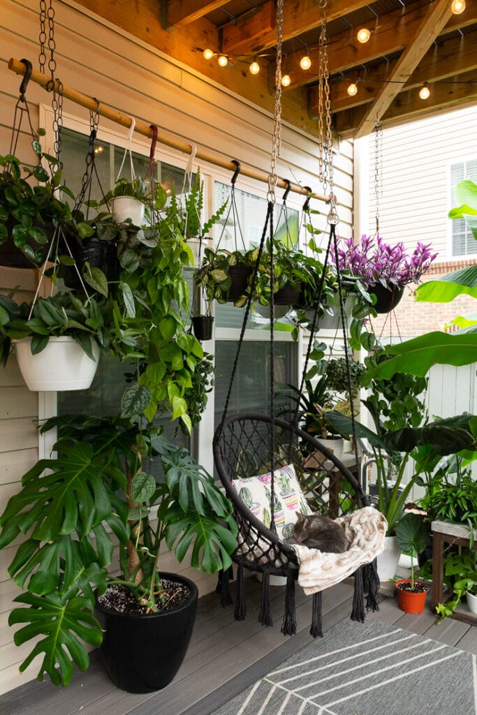 beautiful small townhouse patio decorating ideas with plants and a swing