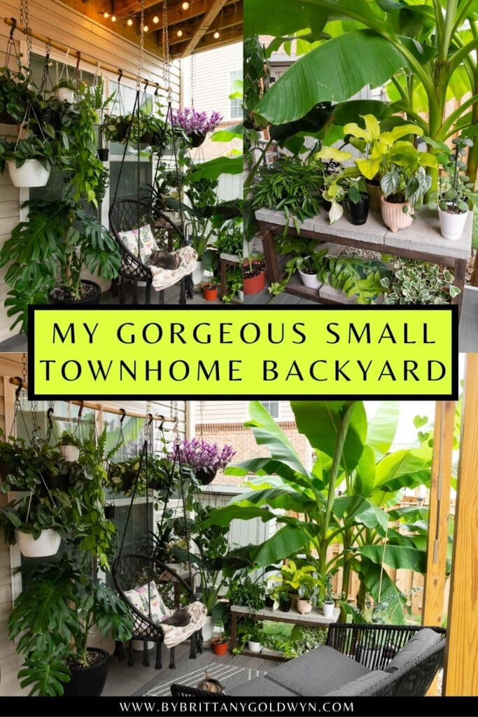 pinnable graphic about how to decorate a townhouse deck with plants including images and text overlay