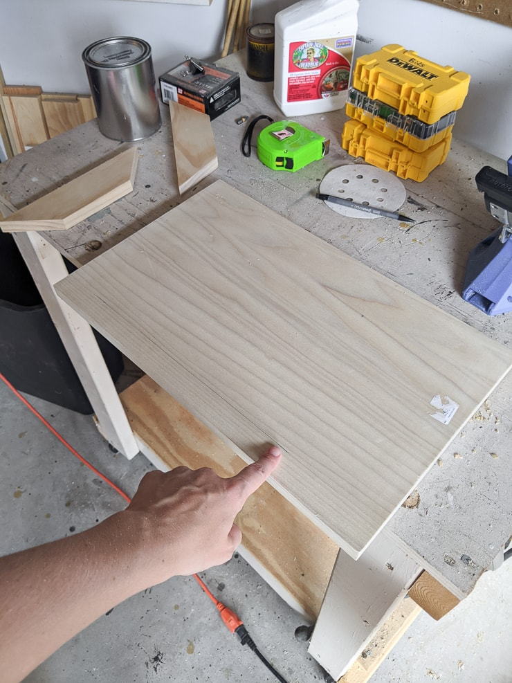 piece of wood on a workshop bench