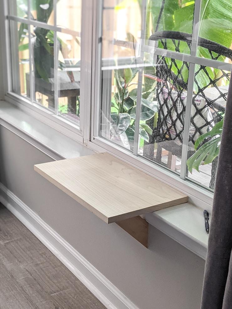 unfinished cat window perch in progress