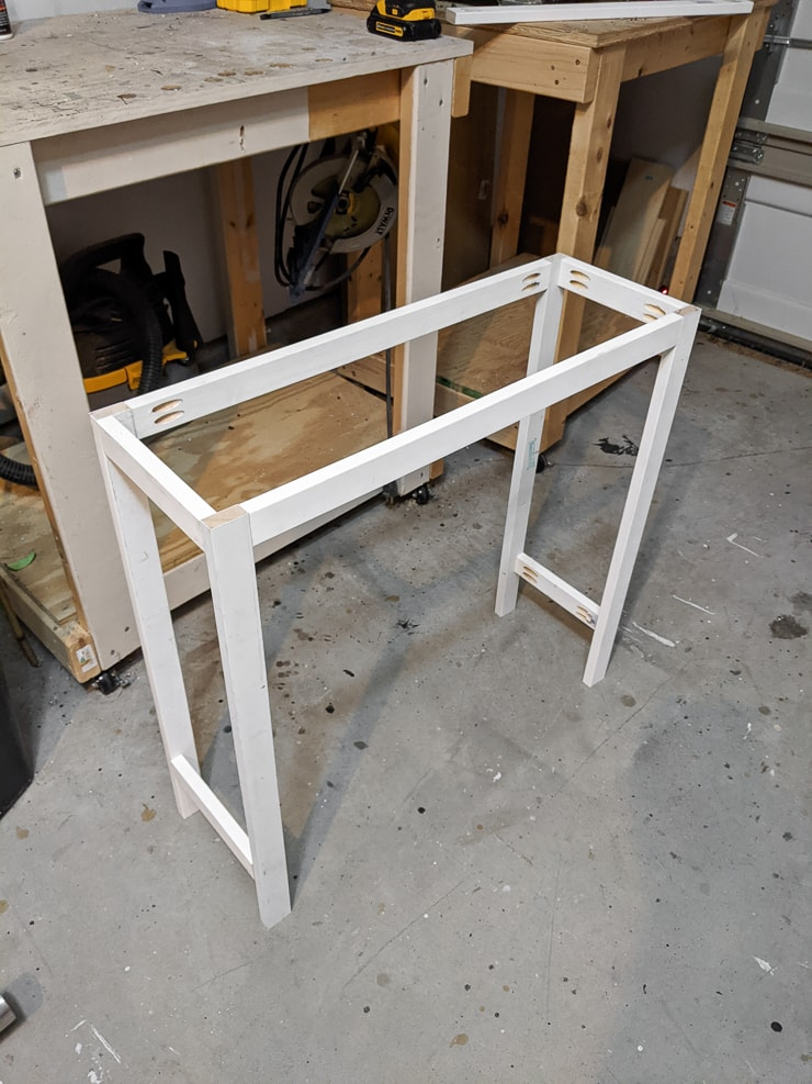 assembling the main structure of the DIY tiered plant stand