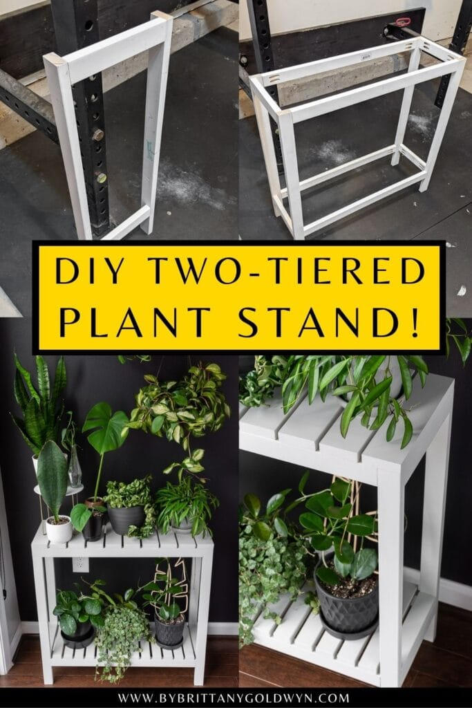 pinnable graphic about DIY indoor plant stand plans with images and text overlay