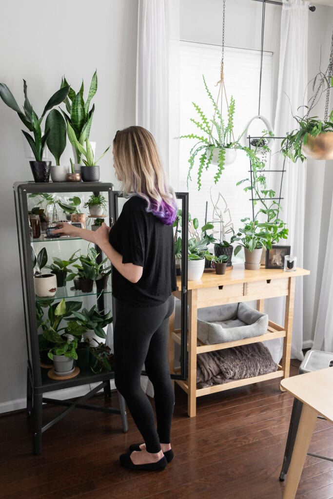 women tending to plants in an ikea greenhouse cabinet